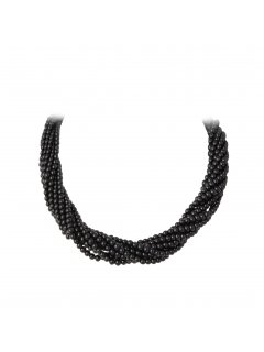 10712A BLACK TWISTED PEARL CHOKER  22 MAGNETIC DIAMONTE CLASP Please Click the image for more information.