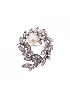 BR0137 ANTIQUE SILVER DIAMONTE PEARL SHEAF Please Click the image for more information.