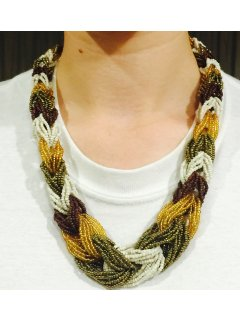 10738 BROWN GOLD OLIVE  WHITE BEADED INTERLINK CHOKER Please Click the image for more information.