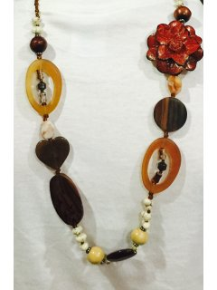 10743C FASHION NECKLACE IN BROWN  GOLD TONES WITH LEATHER FLOWER FEATURE Please Click the image for more information.