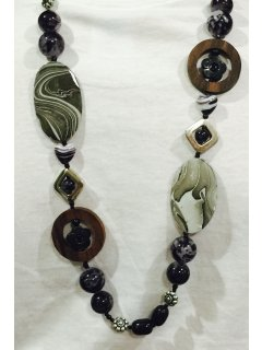 10745 GREY  BLACK WOOD  BEAD FASHION NECKLACE Please Click the image for more information.