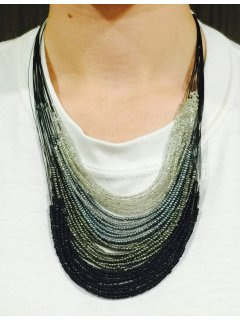 10747A BLACK GREY  SILVER BEADED MULTI STRAND NECKLACE Please Click the image for more information.