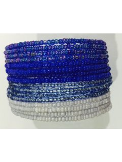 B0221B BEADED CUFF BRACELET IN BLUE TONES Please Click the image for more information.