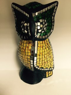 GW064A GREEN  YELLOW MOSAIC OWL  20CM Please Click the image for more information.