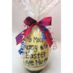 Personalised hollow white chocolate egg 215mm high $45.00 White chocolate hollow egg 215mm personalised with your message written in milkdark chocolate Please Click the image for more information.