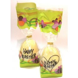 "Hollow white chocolate ""Happy Easter"" egg 105mm high $10.90 Hollow White chocolate egg with Happy Easter written in milk or dark chocolate Designs vary images are examples only Mad. Please Click the image for more information."