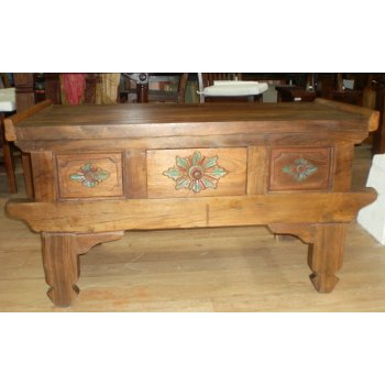 PU 3759 Balinese Carved Teak Coffee Table Balinese And Indonesian