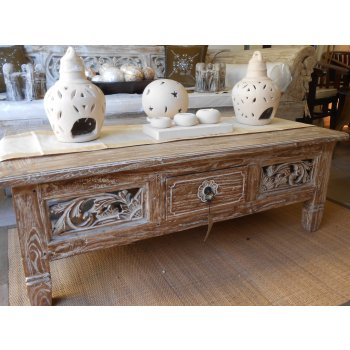 1231 W Whitewash Boat Teak Coffee Table S Balinese And Indonesian